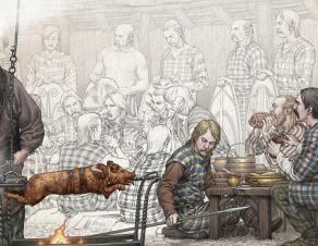 Illustration d'un banquet gaulois