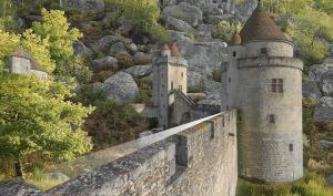 Photomontage. Intégration d'un chateau médiéval dans un paysage forestier de chaos rocheux