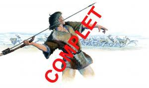 illustration d'un chasseur préhistorique armé d'un propulseur