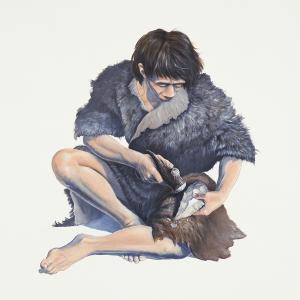 Illustration représentant un homme préhistorique taillant un biface en silex