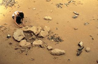 Fouille d'un foyer préhistorique - site d'Etiolles (91)
