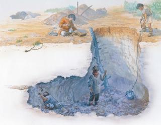 Illustration évoquant les minières de silex néolithiques de Jablines.
