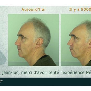 """Cliché issu du dispositif multimédia """"Neanderton"""" permettant de transformer son visage en celui d'un homme ou d'une femme de Neandertal"""