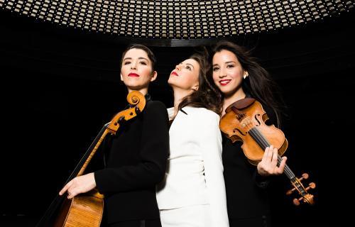 Photographie de 3 musiciennes classiques avec leurs instruments (violon, contrebasse)