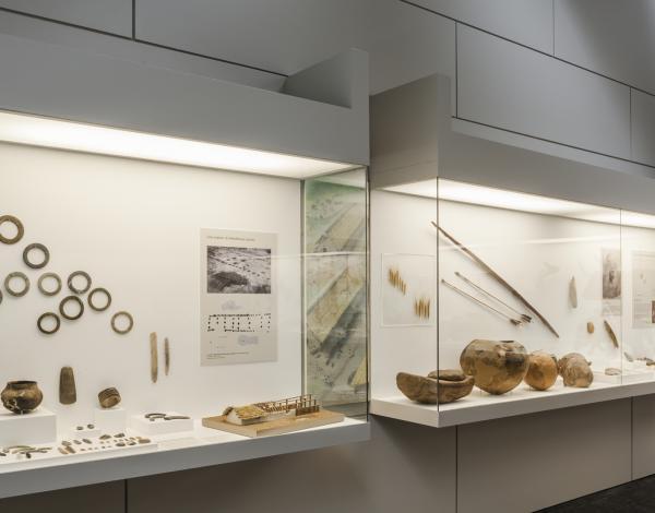 Vitrines présentant des objets du Néolithique (salle 6 du musée)