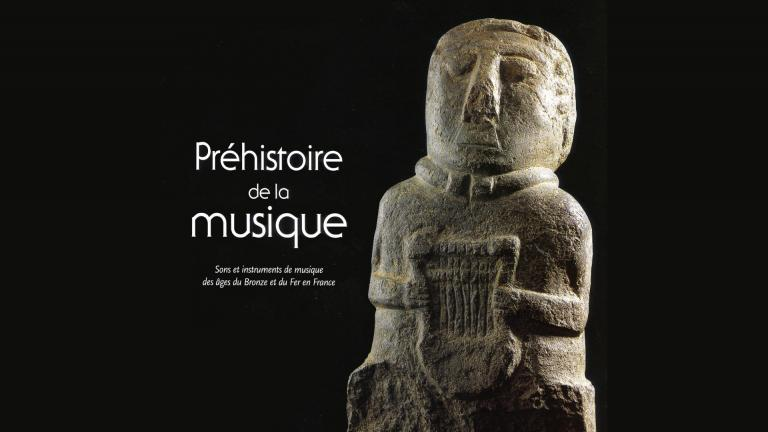 """Couverture du catalogue de l'exposition """"Préhistoire de la Musqiue"""""""
