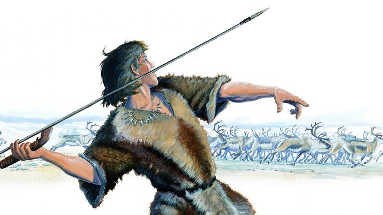illustration d'un chasseur de rennes préhistorique armé d'un propulseur et d'une sagaie