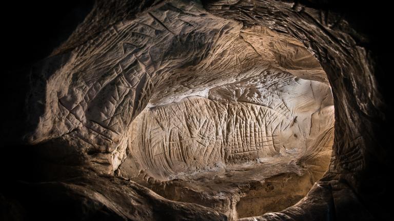 Photographie d'un abri sous roche gravé du massif de Fontainebleau