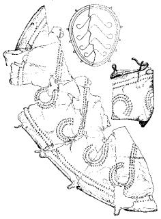 Dessin des fragments d'une cnémide en bronze