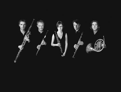 """Photographie des 5 musiciens composant la fromation musicale """"Le Concert impromptu"""""""