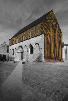 Photomontage. Incorporation d'une forêt de hauts arbres comme portant la toiture à l'intérieur d'un hôtel dieu
